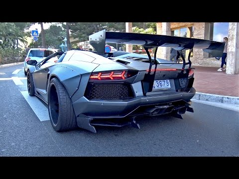 Liberty Walk Lamborghini Aventador w/ Akrapovic! Start up, Revs, Accelerations!
