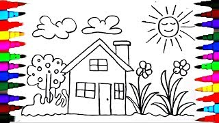 How to Draw a House  - House Coloring For Children - House Drawing for Kids
