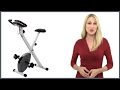 default - Marcy Foldable Exercise Bike - White - Counterweighted Pedals with Adjustable Foot Straps NS-652