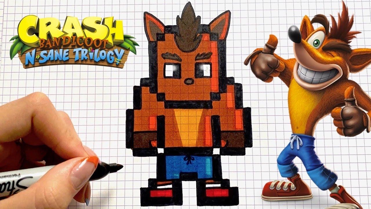 Tuto Dessin Crash Bandicoot Pixel Art Jeux Video Youtube