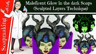 Maleficent Cold Process soap making Glow in the dark DIY soap design beginners sculpted soap 096