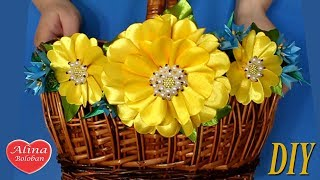 Пасхальная корзина канзаши. Мастер класс / Easter Flowers. Diy. Hand made