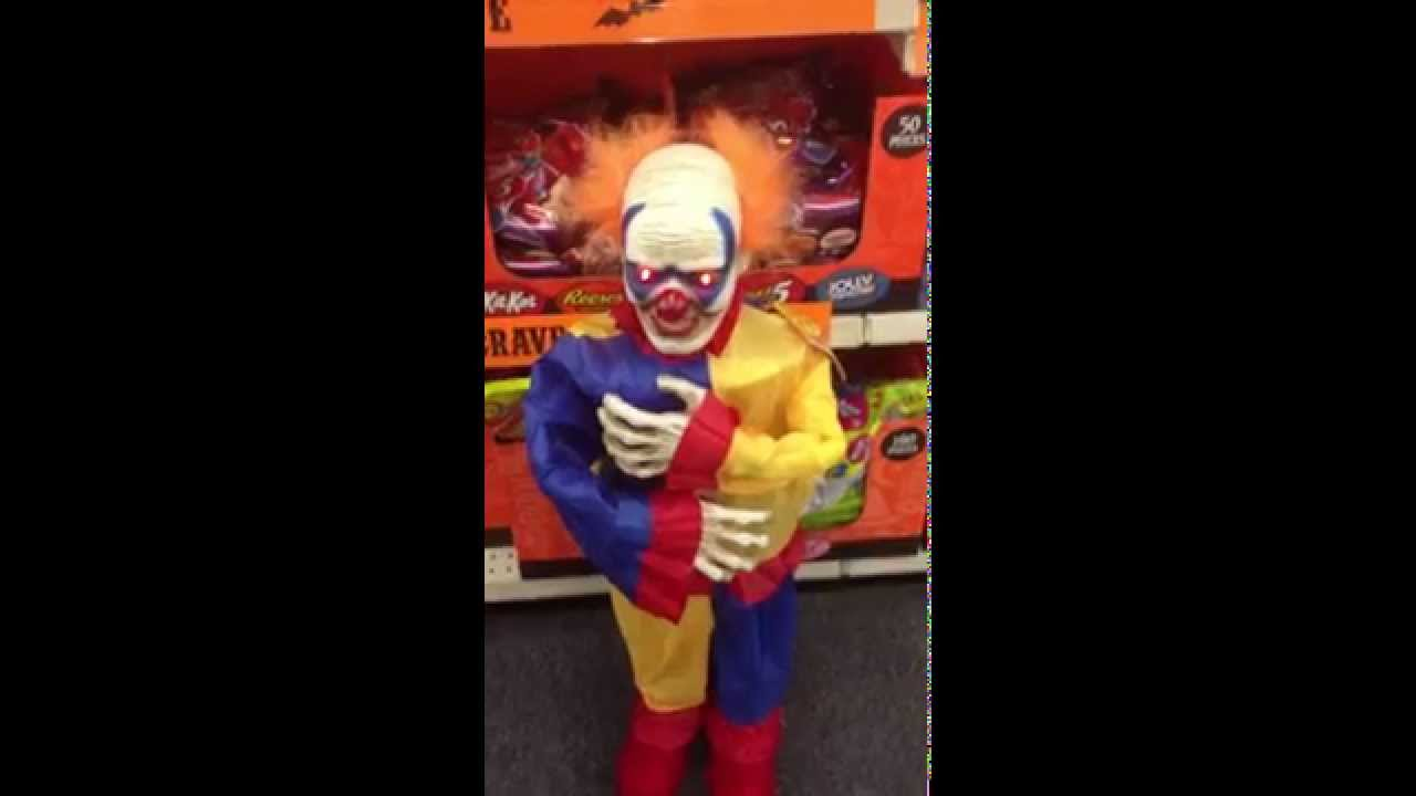 cvs pharmacys 36 inch animated scary clown youtube - Scary Clown Halloween Decorations