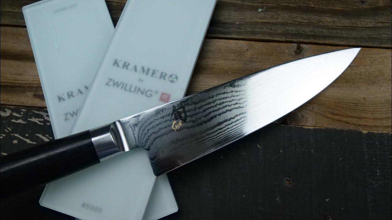 How To Hand Sharpen Shun Knife On Bob Kramer Whetstone - YouTube