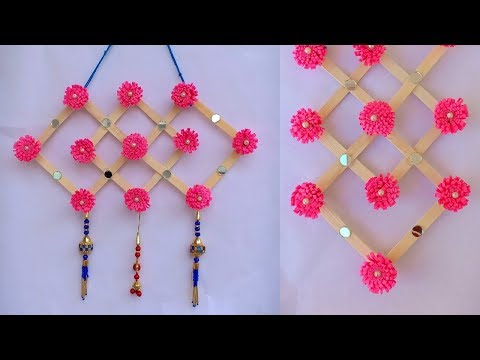 DIY : Icecream Stick Craft / How to make Wall hanging With Popsicle Stick /Paper flower Wall hanging