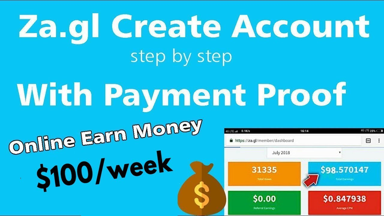 Online Earn Money || Za.gl Create Account In Hindi - YouTube