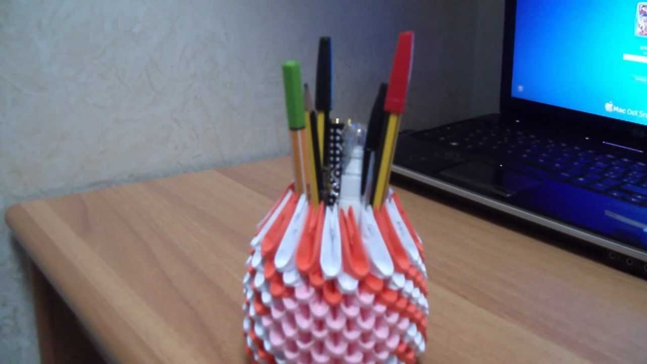 3d origami portapenne pencil holder youtube jeuxipadfo Image collections
