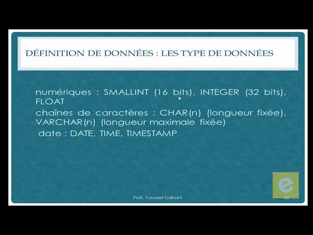 SQL 12: Définition de Données : Type de Données
