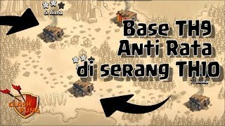 Review Base War TH9 anti Rata di serang TH10 Clash of Clans ~ COC Indonesia