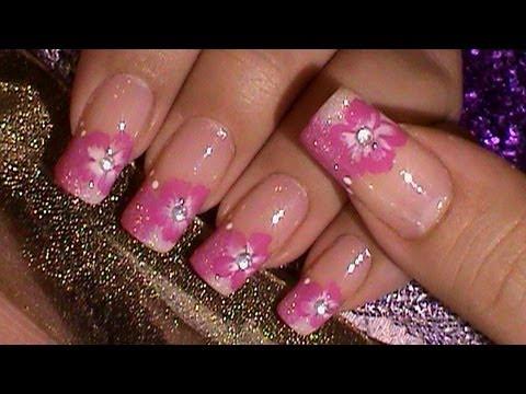 Pink white glitter french manicure one stroke flower youtube pink white glitter french manicure one stroke flower mightylinksfo