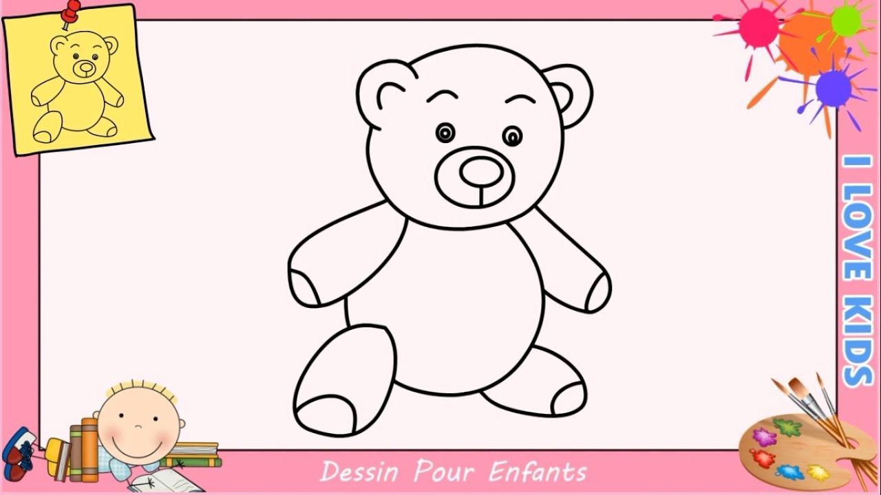 comment dessiner un nounours facile etape par etape pour enfants debutant youtube. Black Bedroom Furniture Sets. Home Design Ideas