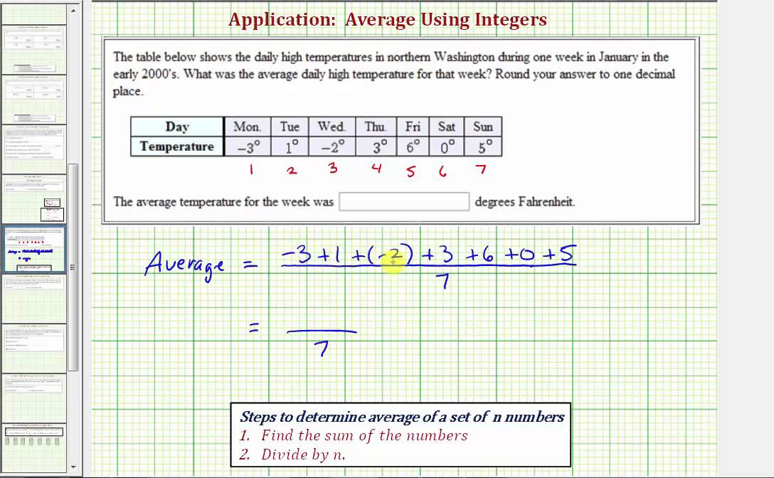 Ex Determine The Average Of A Set Of Integers Temperature Youtube