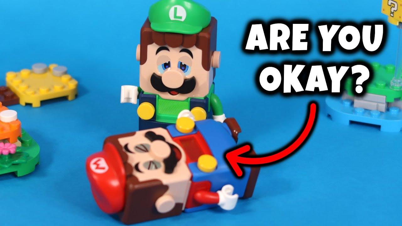 LUIGI SE PREOCUPA POR MARIO 😰 (TODAS LAS INTERACCIONES) Lego Super Mario