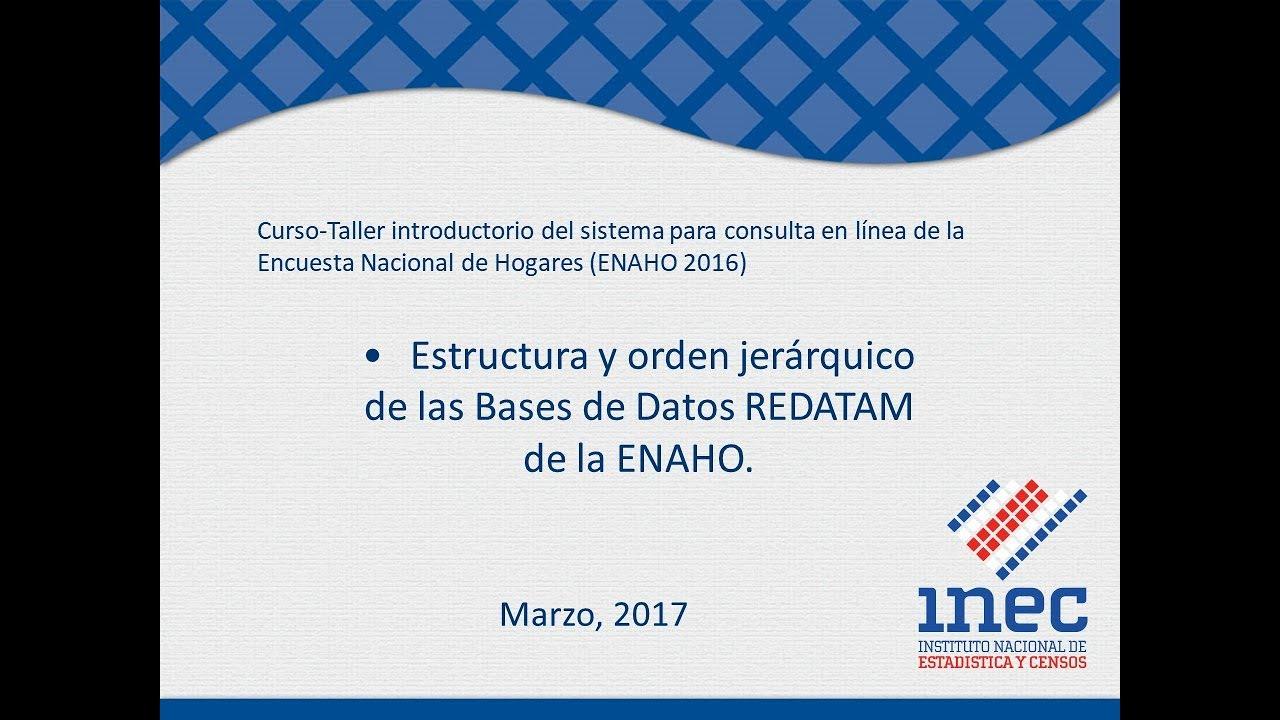 Estructura Y Orden Jerárquico De Las Bases De Datos Redatam De La Enaho