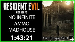Resident Evil 7 (PC) Speedrun - NO INFINITE AMMO New Game Madhouse any% (1:43:21 - Commentated)