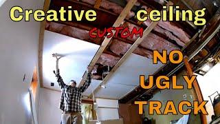 farmhouse custom suspended / dropped ceiling installation and creative idea