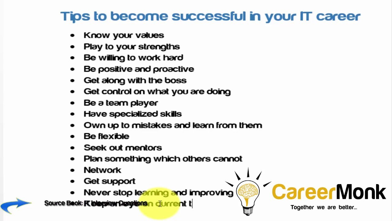 tips to become successful in your it career