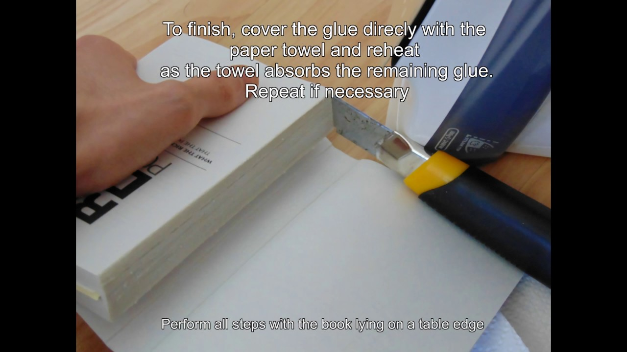 How to remove a book binding made of hot glue youtube how to remove a book binding made of hot glue solutioingenieria Images