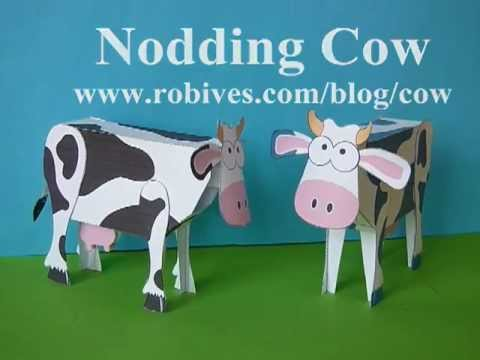 Papercraft Nodding Cow, a paper model