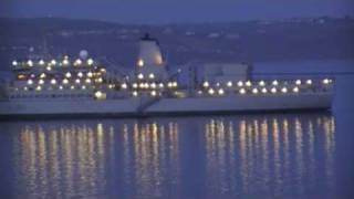 RFA Fort Rosalie (A385) Videoed From Brittany Ferries MV Armorique, Plymouth, UK 18th April 2010