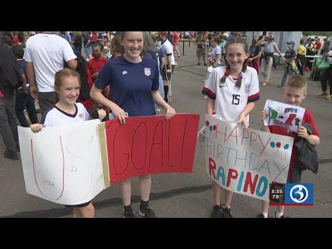 Video: U.S. Women's Soccer team plays at Rentschler Field