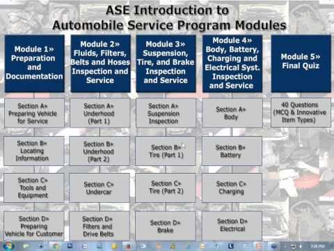 ASE's New E Learning Program - Introduction to Automobile Service