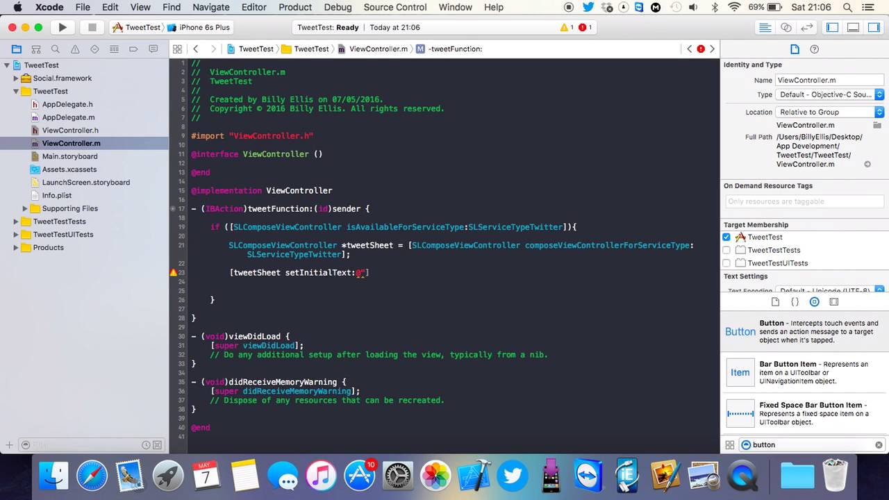 Xcode 7 - Post to Twitter in Your iOS App Tutorial