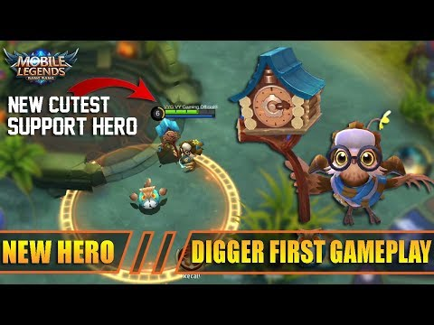 New Hero Digger Timekeeper The Best Support Hero First Gameplay and Review - Mobile Legends