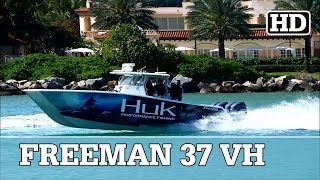 HUK Freeman 37VH | Quad Yamaha Outboards Running