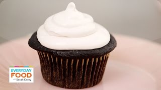 Oreo Cookie Cupcake With A Raspberry Fluff Frosting - Everyday Food With Sarah Carey