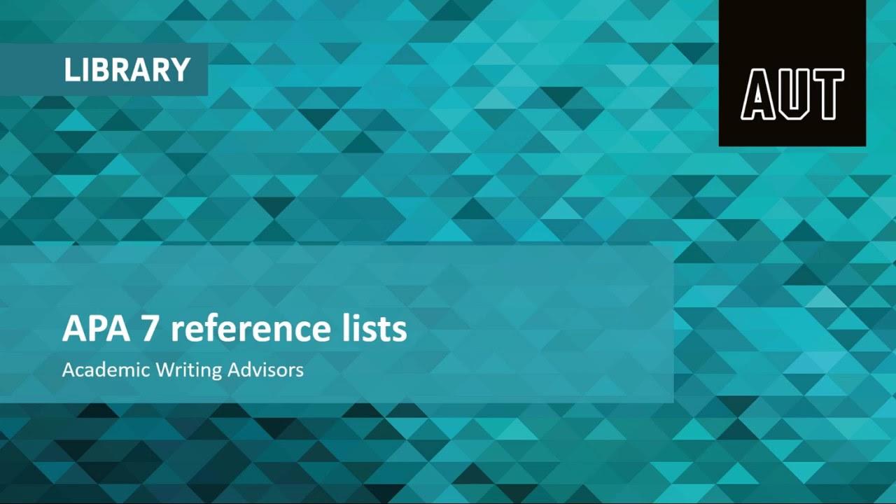 APA  7 reference lists
