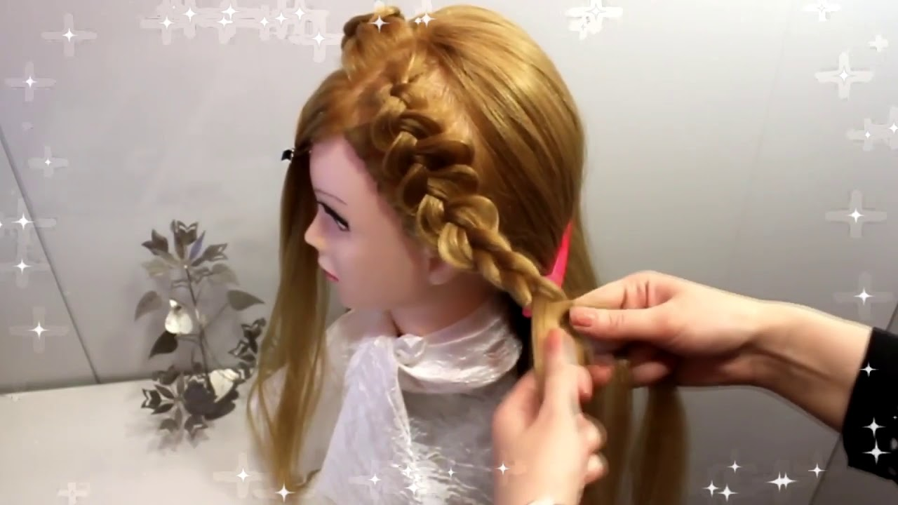 Прическа на длинные средние волосы коса для девочек. Детские прически косички из резинок.