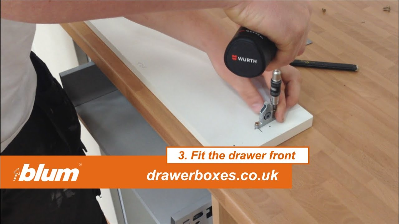 Replacement Drawer Slides >> Blum Tandembox Antaro - shallow replacement kitchen drawer box - 3 of 3 Fit the drawer front ...