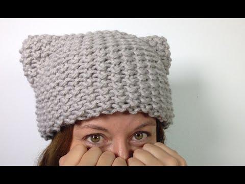 a53f6eff815bb Cómo tejer un gorro gatito (gorro con orejitas Kitty Hat) en telar ...