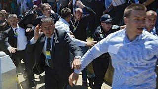 Serbia PM pelted with ricks at Srebrenica massacre anniversary