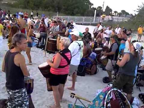 Sunset drummers at Nokomis Beach, Florida