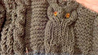 Вязание жакета для мальчика 1,5 года Сова спицами часть 1