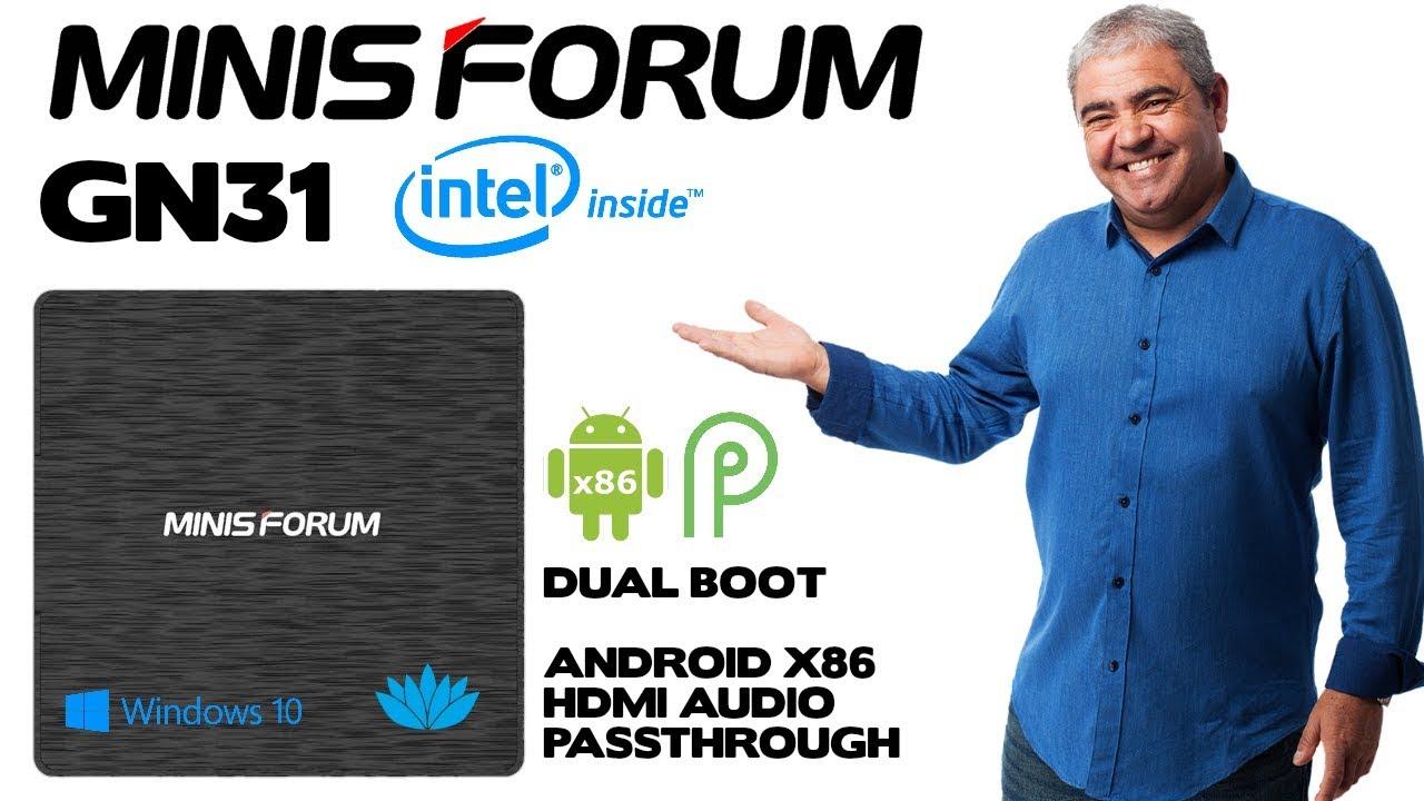 Minisforum GN31 Intel Windows 10 Mini PC - Dual Boot to Android 9
