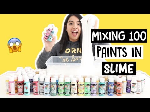 MIXING 100 COLORS OF PAINT INTO GIANT FLUFFY SLIME!