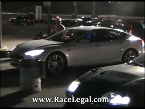 2013 Tesla Model S VS 1994 Toyota Supra Drag Racing Racelegal com 5-31-2013