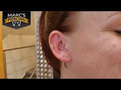 Inner CONCH Piercing Mit Maria Tash Diamond Trinity Stecker In Roségold 💉 Marc's Piercing TV
