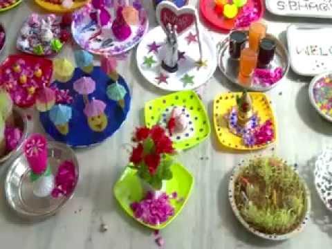 Tamilnadu marraige arathi plates designs youtube for Arathi thattu decoration