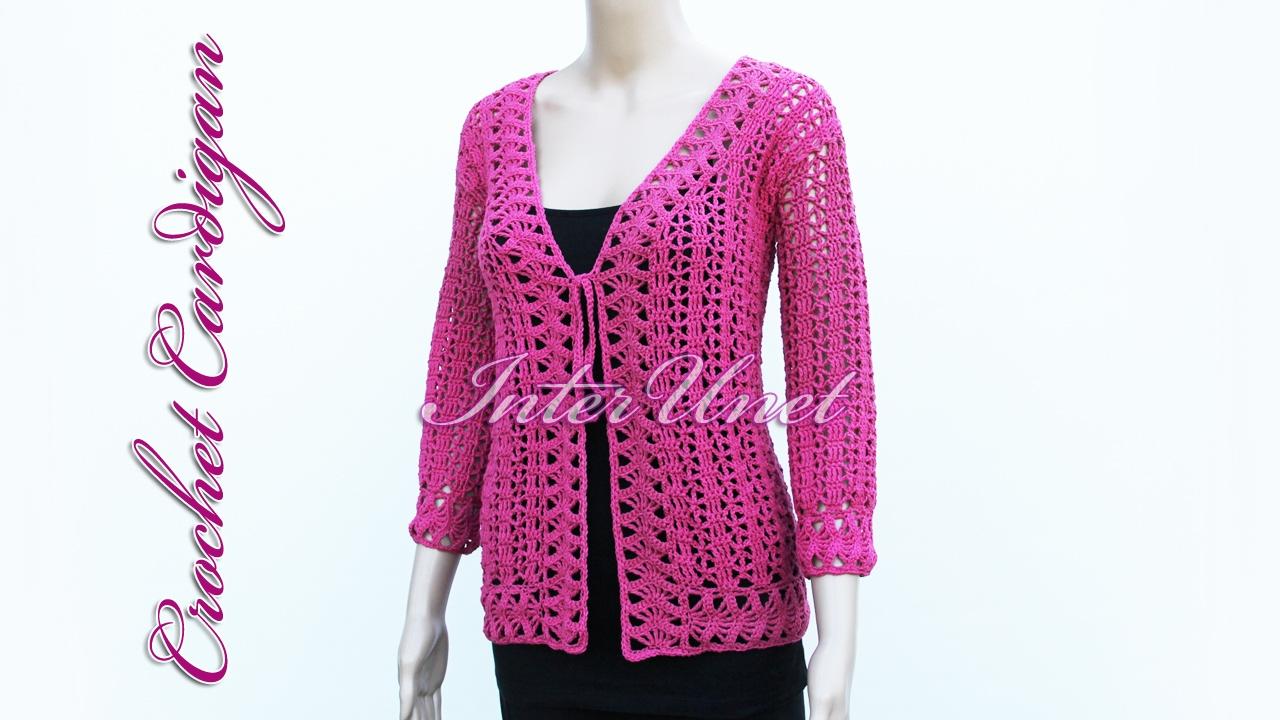 Tie front pink lace cardigan jacket crochet pattern - YouTube