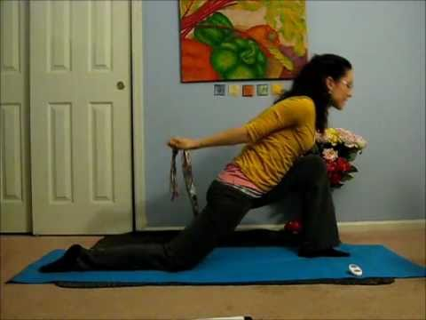 yoga shoulder  chest opening using a yoga strap