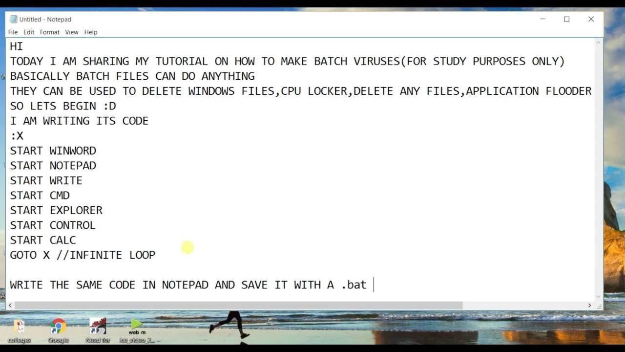 .bat notepad codes