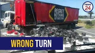 WATCH: Oh beer! Crates of alcohol crash out of beer truck in Cape Town