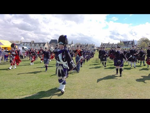"Massed pipes & drums finale with ""Scotland the brave"" led by Drum Major John Matheson BEM in Nairn"