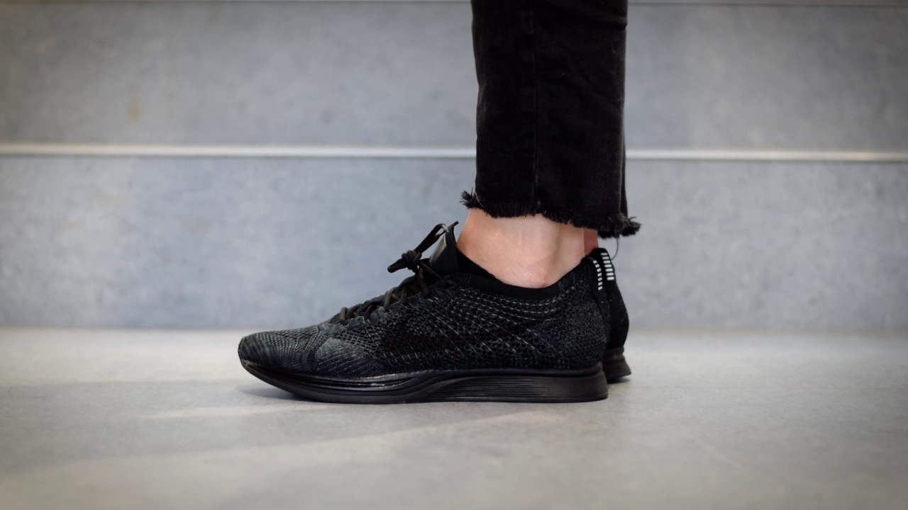 new arrival 1dcaa d5f5d Nike Flyknit Racer Triple Black   ON FEET