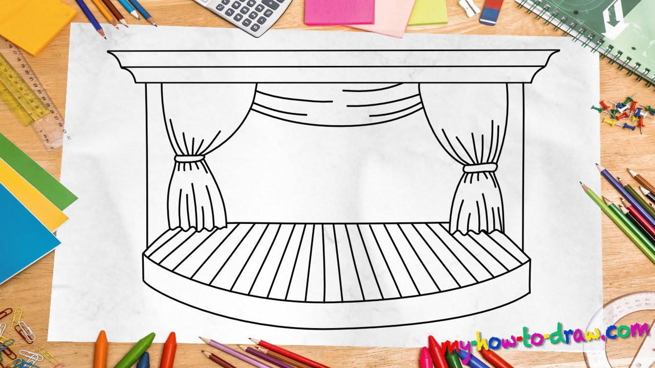 How to draw a Stage  Easy stepbystep drawing lessons