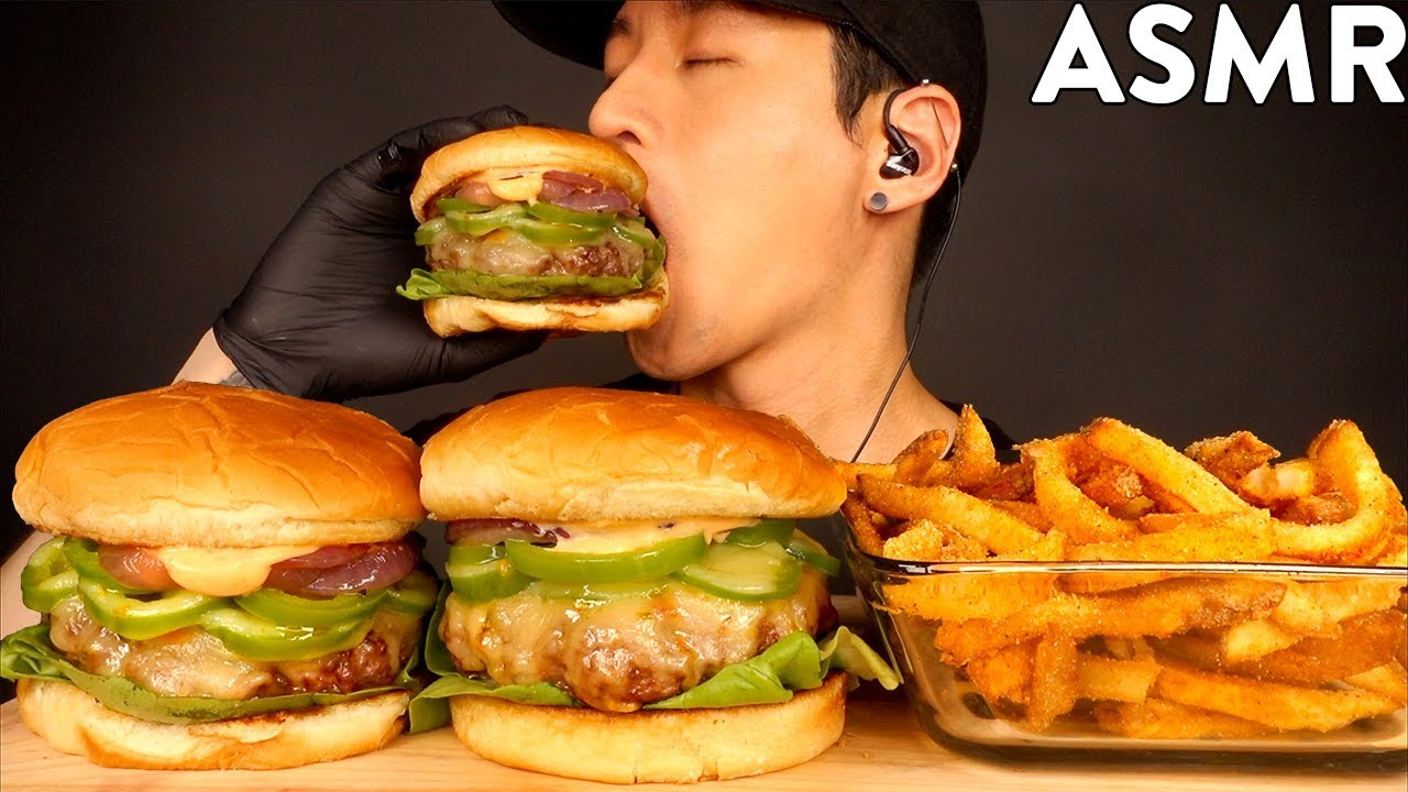ASMR JALAPENO CHEESEBURGER & CAJUN FRIES MUKBANG (No Talking) COOKING & EATING SOUNDS